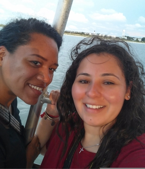 M & I on the boat to see the dolphins